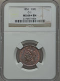 Half Cents, 1851 1/2 C C-1, B-1, R.1 MS64+ Brown NGC. NGC Census: (71/17). PCGSPopulation (43/1). Mintage: 147,672. Numismedia Wsl. Pr...