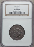 Large Cents, 1824 1C N-3, R.2 AU55 NGC. NGC Census: (13/33). PCGS Population(10/29). Mintage: 1,262,000. Numismedia Wsl. Price for prob...