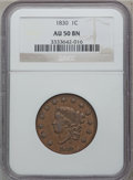 Large Cents: , 1830 1C Large Letters AU50 NGC. NGC Census: (3/84). PCGS Population(11/74). Mintage: 1,711,500. Numismedia Wsl. Price for ...