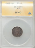 Bust Dimes, 1836 10C JR-3, R.3 XF40 ANACS. NGC Census: (7/184). PCGS Population(25/191). Mintage: 1,190,000. Numismedia Wsl. Price for...