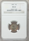 Seated Dimes: , 1885 10C MS64 NGC. NGC Census: (88/118). PCGS Population (79/81).Mintage: 2,532,497. Numismedia Wsl. Price for problem fre...