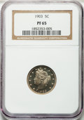 Proof Liberty Nickels: , 1903 5C PR65 NGC. NGC Census: (123/130). PCGS Population (136/87).Mintage: 1,790. Numismedia Wsl. Price for problem free N...