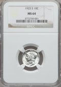 Mercury Dimes: , 1925-S 10C MS64 NGC. NGC Census: (26/14). PCGS Population (16/17).Mintage: 5,850,000. Numismedia Wsl. Price for problem fr...