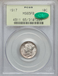 1917 10C MS65 Full Bands PCGS. CAC. PCGS Population: (257/135). NGC Census: (115/43). CDN: $275 Whsle. Bid for problem-f...