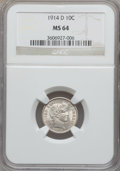 Barber Dimes: , 1914-D 10C MS64 NGC. NGC Census: (107/62). PCGS Population(120/62). Mintage: 11,908,000. Numismedia Wsl. Price for problem...