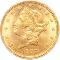 Liberty Double Eagles, 1907-D $20 MS64+ PCGS. CAC....