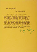 """Autographs:Authors, Anya Seton (1904-1990), American Author, Typed Quote From TheTurquoise Signed """"Anya Seton"""". One page, 5"""" x ..."""