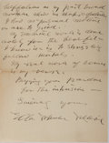 """Autographs:Authors, Ella Wheeler Wilcox (1850-1919), American Author and Poet,Autograph Letter Signed """"Ella Wheeler Wilcox"""". Two pages,5.2..."""