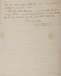 "Autographs:Statesmen, Autograph Letter to Senator Samuel Smith (1752-1859) of MarylandSeeking His Help in Getting a ""Mr. Hughes"" Throug..."