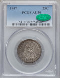 Seated Quarters: , 1847 25C AU50 PCGS. CAC. PCGS Population (8/46). NGC Census:(3/52). Mintage: 734,000. Numismedia Wsl. Price for problem fr...