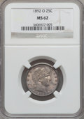 Barber Quarters: , 1892-O 25C MS62 NGC. NGC Census: (56/190). PCGS Population(73/216). Mintage: 2,640,000. Numismedia Wsl. Price for problem ...