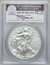 2011-S $1 Silver Eagle, 25th Anniversary Set, First Strike MS70 PCGS. Ex: Signature of John M. Mercanti, 12th Chief Engr...