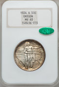 Commemorative Silver: , 1926-S 50C Oregon MS65 NGC. CAC. NGC Census: (927/808). PCGSPopulation (987/526). Mintage: 83,055. Numismedia Wsl. Price f...