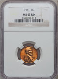 Lincoln Cents: , 1957 1C MS67 Red NGC. NGC Census: (130/0). PCGS Population (5/0).Mintage: 283,787,968. Numismedia Wsl. Price for problem f...