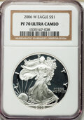 Modern Bullion Coins, 2006-W $1 Silver Eagle PR70 Ultra Cameo NGC. NGC Census: (17652).PCGS Population (2364). ...