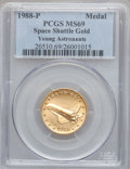 Modern Issues, 1988-P MEDAL Gold Space Shuttle, Young Astronauts MS69 PCGS. ...