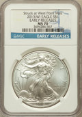 Modern Bullion Coins, 2013-(W) $1 One-Ounce Silver American Eagle, Struck at West PointMint, Early Releases MS70 NGC. NGC Census: (0). PCGS Popu...