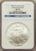 Modern Bullion Coins, 2007-W $1 Silver Eagle, Early Releases MS70 NGC. NGC Census:(14078). PCGS Population (3688)....
