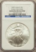2007 $1 One-Ounce Silver Eagle, Early Releases Gem Uncirculated NGC....(PCGS# 150446)
