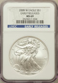 Modern Bullion Coins, 2008-W $1 Silver Eagle, Early Releases MS69 NGC. NGC Census:(10620/10554). PCGS Population (5638/947). Numismedia Wsl. Pr...