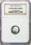 Proof Roosevelt Dimes, (2)2007-S 10C Silver, PF69 Ultra Cameo NGC. NGC Census: 1359 in 69,1757 finer (5/13).... (Total: 2 coins)