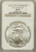 Modern Bullion Coins, 2011 $1 Silver Eagle, 25th Anniversary MS69 NGC. NGC Census:(27293/3414). PCGS Population (1725/389)....
