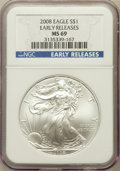 Modern Bullion Coins, 2008 $1 Silver Eagle, Early Release MS69 NGC. NGC Census:(42913/4152). PCGS Population (300480/10757)....
