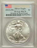 Modern Bullion Coins, 2013-(W) $1 One-Ounce Silver American Eagle, Struck at West PointMint, First Strike MS70 PCGS. PCGS Population (12385). NG...