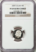 Proof Roosevelt Dimes, (2)2009-S 10C Clad PF69 Ultra Cameo NGC. NGC Census: 1347 in 69, 1986 finer (5/13).... (Total: 2 coins)