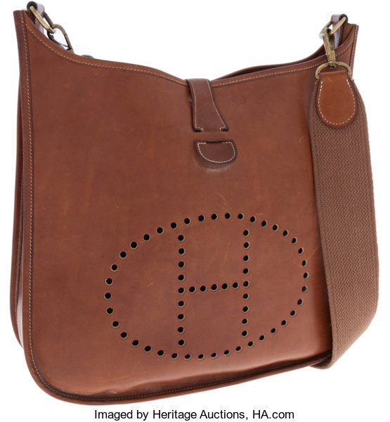 Luxury Accessories Bags Hermes Natural Barenia Leather Evelyne Messenger Bag