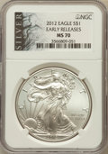 Modern Bullion Coins, 2012 $1 Silver Eagle, Early Releases MS70 NGC. NGC Census: (0).PCGS Population (8859)....