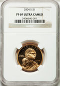 Proof Sacagawea Dollars, 2004-S $1 PR69 Ultra Cameo NGC. NGC Census: (9528/1745). PCGSPopulation (10215/606). Numismedia Wsl. Price for problem fr...