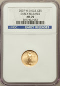 Modern Bullion Coins, 2007-W $5 Tenth-Ounce Gold Eagle, Early Releases MS70 NGC. NGCCensus: (5561). PCGS Population (152). Numismedia Wsl. Pric...