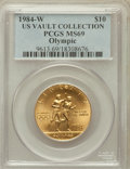 Modern Issues, 1984-W G$10 Olympic Gold Ten Dollar MS69 PCGS. Ex: U.S. VaultCollection. PCGS Population (2472/118). NGC Census: (1073/435...