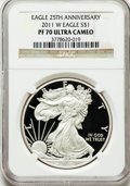 Modern Bullion Coins, 2011-W $1 Silver Eagle, 25th Anniversary Set PR70 Ultra Cameo NGC.NGC Census: (5855). PCGS Population (2615). Numismedia ...