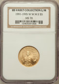 Modern Issues, 1991-1995W G$5 World War II Gold Five Dollar MS70 NGC. Ex: U.S.Vault Collection L/M. NGC Census: (773). PCGS Population (1...