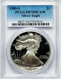Modern Bullion Coins: , 1989-S $1 Silver Eagle PR70 Deep Cameo PCGS. PCGS Population (805).NGC Census: (846). Mintage: 617,694. Numismedia Wsl. Pr...