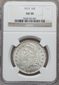 Bust Half Dollars: , 1810 50C AU50 NGC. NGC Census: (44/389). PCGS Population (59/249).Mintage: 1,276,276. Numismedia Wsl. Price for problem fr...
