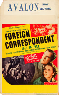 "Foreign Correspondent (United Artists, 1940). Window Card (14"" X 22"")"