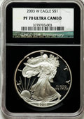 Modern Bullion Coins, 2003-W $1 Silver Eagle PR70 Ultra Cameo NGC. 25th AnniversaryHolder. NGC Census: (7768). PCGS Population (1609). Numismed...