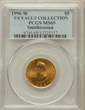 Modern Issues, 1996-W G$5 Smithsonian Gold Five Dollar MS69 PCGS. Ex: U.S. VaultCollection. PCGS Population (888/76). NGC Census: (443/35...