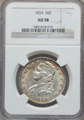 Bust Half Dollars: , 1833 50C AU58 NGC. NGC Census: (315/357). PCGS Population(223/312). Mintage: 5,206,000. Numismedia Wsl. Price for problem...