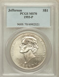 Modern Issues: , 1993-P $1 Jefferson Silver Dollar MS70 PCGS. PCGS Population (320).NGC Census: (616). Mintage: 266,927. Numismedia Wsl. Pr...