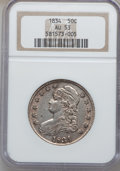 Bust Half Dollars, 1834 50C Large Date, Small Letters AU53 NGC. NGC Census:(155/1423). PCGS Population (69/561). Mintage: 6,412,004.Numismed...