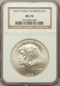Modern Issues: , 1995-W $1 Special Olympics Silver Dollar MS70 NGC. NGC Census:(210). PCGS Population (95). Numismedia Wsl. Price for prob...