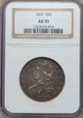 Bust Half Dollars: , 1829 50C Small Letters AU55 NGC. NGC Census: (146/504). PCGSPopulation (182/419). Mintage: 3,712,156. Numismedia Wsl. Pric...