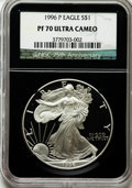 Modern Bullion Coins, 1996-P $1 Silver Eagle PR70 Ultra Cameo NGC. 25th AnniversaryHolder. NGC Census: (622). PCGS Population (866). Numismedia...