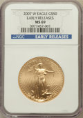 Modern Bullion Coins, 2007-W $5 Tenth-Ounce Gold Eagle, Early Releases MS69 NGC, 2007-W$10 Quarter-Ounce Gold Eagle, Early Releases MS69 NGC, 200...(Total: 4 coins)