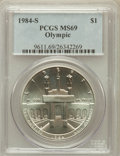 Modern Issues: , 1984-S $1 Olympic Silver Dollar MS69 PCGS. PCGS Population(1238/6). NGC Census: (967/2). Mintage: 116,000. Numismedia Wsl....