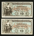 Military Payment Certificates:Series 481, Series 481 10¢ Two Examples.. ... (Total: 2 notes)